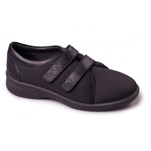 Padders Black lycra and leather flat velcro shoe