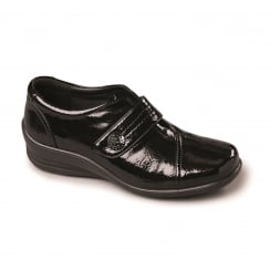 Black patent leather flat Velcro shoe