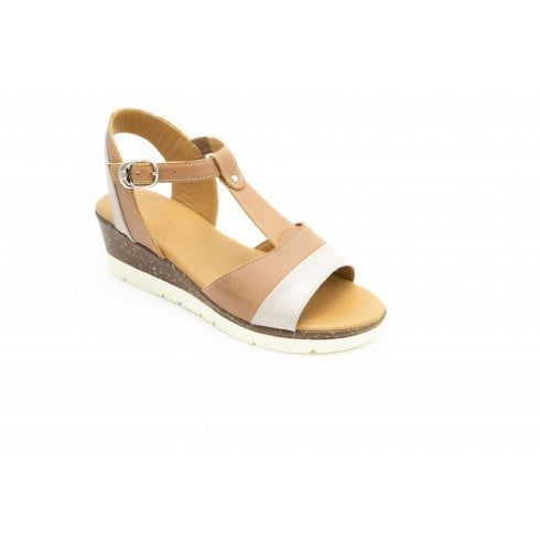 Padders Blossom Std Fit Tan Combo Leather Wedge Sandal