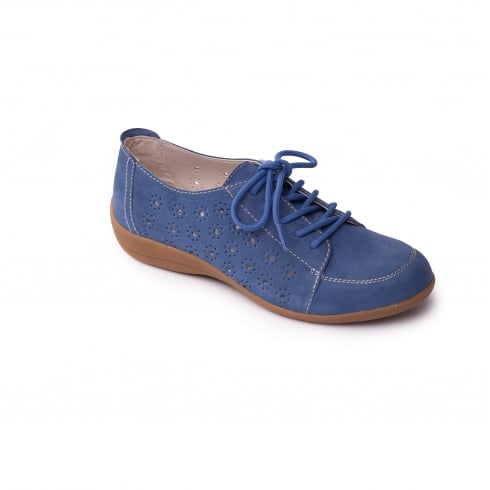 Padders Blue leather nubuck flat lace up shoe