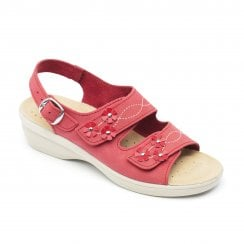 Bluebell Std Fit Red Nubuck Twin Velcro Sandal