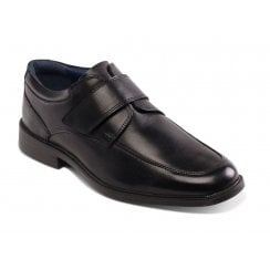 Brent Black Leather Velcro Fasten Shoe