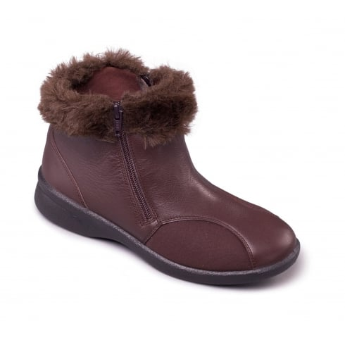 Padders Brown leather flat ankle boot