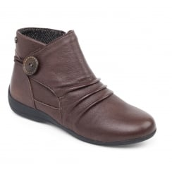 Brown leather flat ankle boot with side zip