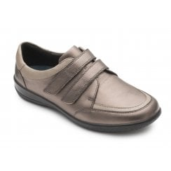 Caitlyn 2E/3E Fit Bronze Combi Flat Leather Shoe
