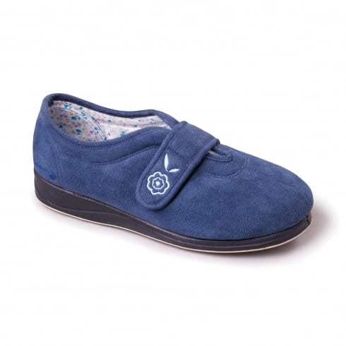 Padders Camilla Denim Blue Easy Fasten Slipper