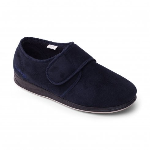 Padders Charles Wide Fit Navy Microsuede Strap Slipper