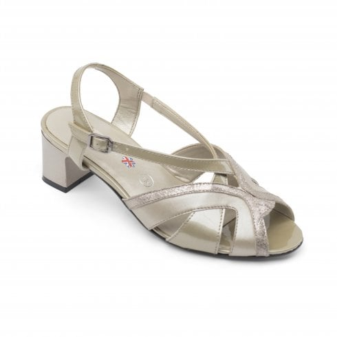 Padders Charm Wide Fit Stone Pearl Leather Heeled Slingback Sandal