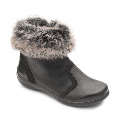 Padders Clarinet Black Leather Flat Faux Fur Trim Ankle Boot