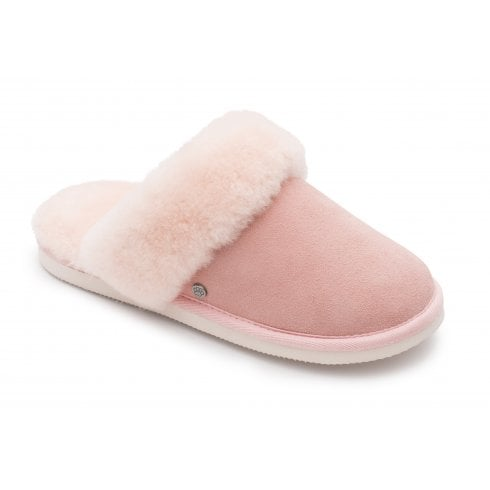 Padders Cosy Pink Leather/Sheepskin Mule Slipper