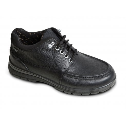 Padders Crest Black Waterproof Leather Lace Up Shoe