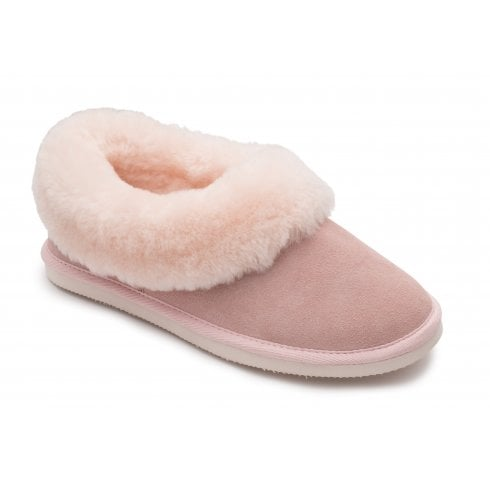 Padders Cuddle Pink Leather/Sheepskin Full Slippers