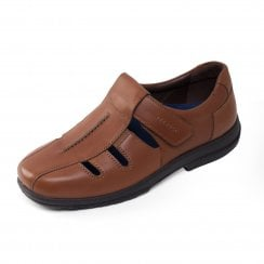 Dawlish Extra Wide Tan Leather Cut Out Shoe