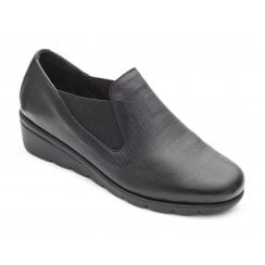 Dawn E Fit Black Leather Wedge Elastic Shoe