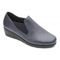Dawn E Fit Navy Leather Wedge Elastic Shoe