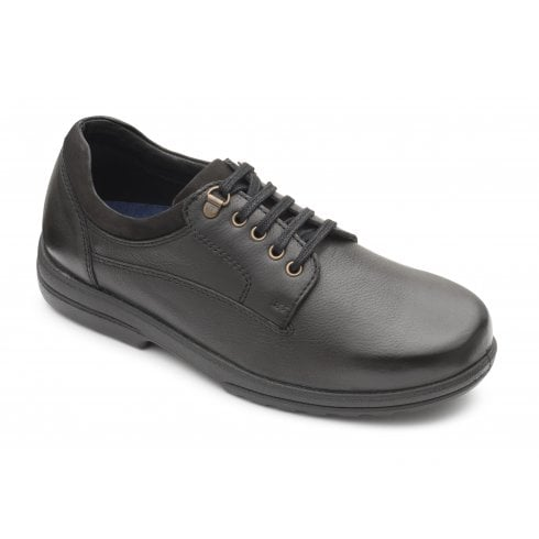 Padders Declan Extra Wide Fit Black Leather Lace Up Shoe