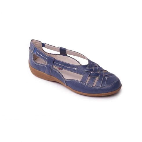 Padders Denim blue leather flat closed toe sandal
