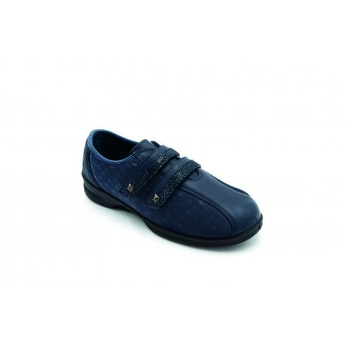 Padders Diana 4E/6E Fit Navy Flat Leather/Textile Twin Strap Shoe