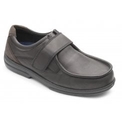 Donald Extra Wide Black Leather Velcro Shoe