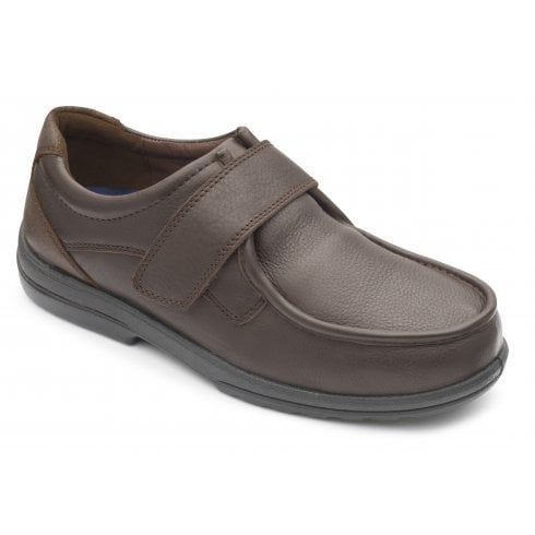 Padders Donald Extra Wide Dark Brown Leather Velcro Shoe