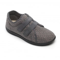 Duo Grey Twin Velcro Strap Slippers