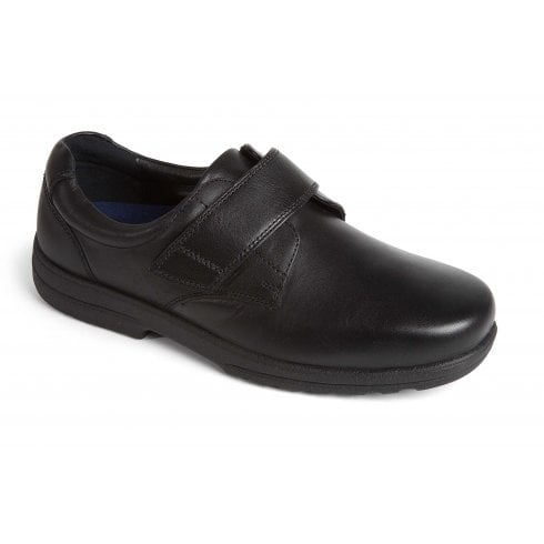 Padders Dylan Black Leather Velcro Shoe