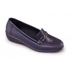 Ellen Wide Fit Navy Combi Leather Flat Casual Moccasin Shoe