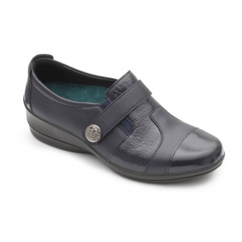 Padders Endure E/2E Fit Flat Navy Combi Patent Leather Wedge Shoe