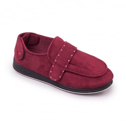 Padders Enfold Burgundy Easy Fasten Slipper