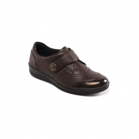Padders Gaby Brown Leather Flat Velcro Shoe