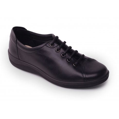 Padders Galaxy Black Leather Flat Lace Up Shoe