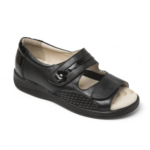 Padders Graceful Black Combi Leather Twin Strap Flat Sandal