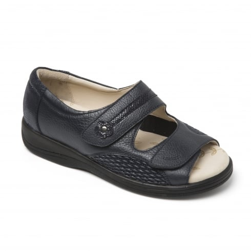 Padders Graceful Navy Leather Twin Strap Flat Sandal