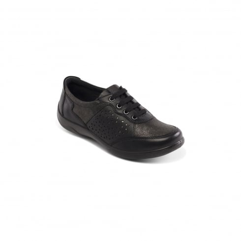 Padders Harp Black Flat Trainer Style Shoe