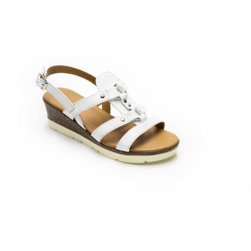Padders Heather White Std Fit Leather Wedge Sandal