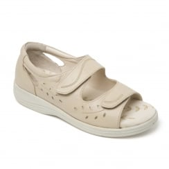 Heatwave Beige Leather Twin Velcro Strap Flat Sandal