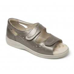 Heatwave Pewter Leather Twin Velcro Strap Flat Sandal
