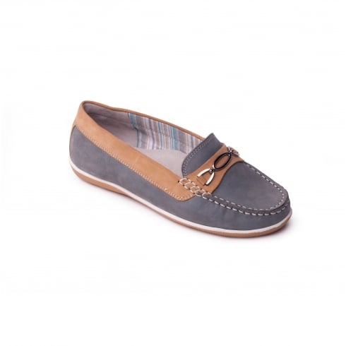 Padders Honey duck egg nubuck leather slip on moccasin shoe