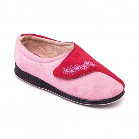 Padders Hug Red/Pink Easy Fasten Slipper