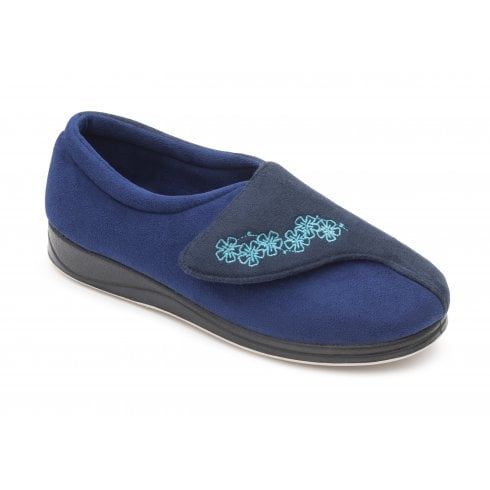 Padders Hug Royal Blue Easy Fasten Slipper