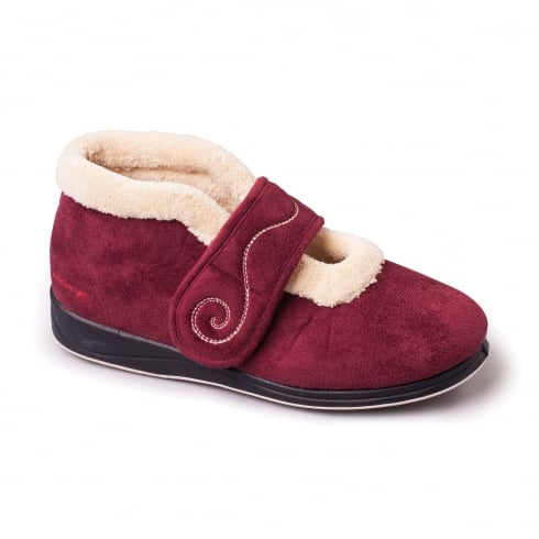 Padders Hush Burgundy Easy Fasten Slipper