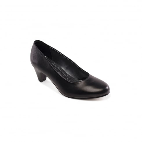 Padders Jane Black Leather Heeled Court Shoe