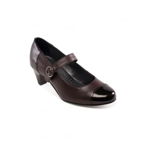Padders Jean Brown Leather Heeled Court Shoe