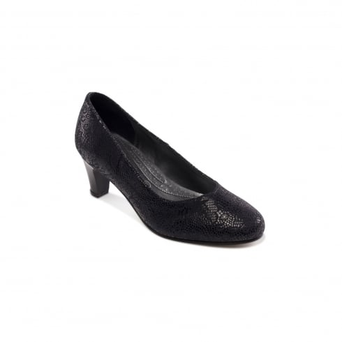 Padders Judy Navy Floral Heeled Court Shoe