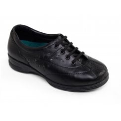 Karen 2 Black Combi Leather Flat Trainer Style Shoe