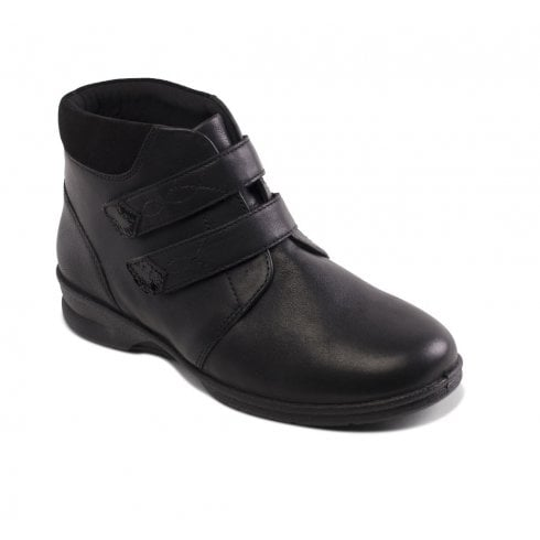 Padders Kathy Black Leather Flat Twin Velcro Ankle Boot