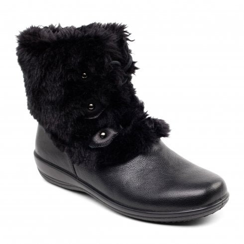 Padders Kim Black Leather/Faux Fur Flat Lace Up Ankle Boot