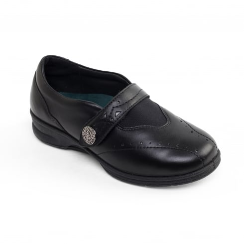 Padders Kirsten 2 Black Leather Flat Velcro Strap Shoe