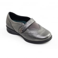 Kirsten 2 Gun Metal Leather Flat Velcro Strap Shoe