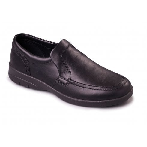 Padders Leo Black Leather Casual Slip On Shoe